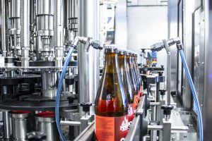 Roller conveyors for beer and glass bottles